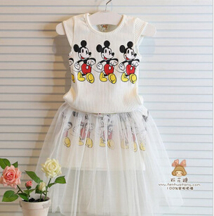 Summer 2015 fashion girl s clothes sets threaded Vest fake two piece children dresses cute baby