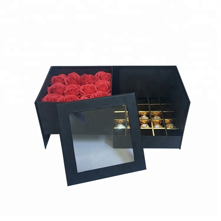 Luxury Gold logo Black Square Chocolate Hat <strong>Box</strong> Carton Rose Flower <strong>Box</strong>