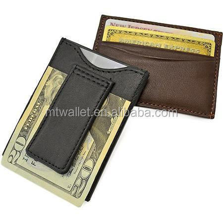 High Quality Genuine Leather Classic Magnetic Money Clip Wallet, Fashion Money Clips and Wholesale Card Holder
