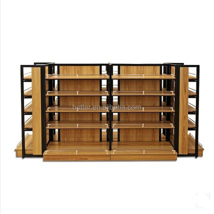 Steel and wood double sided supermarket shelf snacks shelf display rack import convenience store