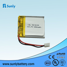 1 cell lipo 450mah, 3.7v rechargeable li ion battery for inter phone