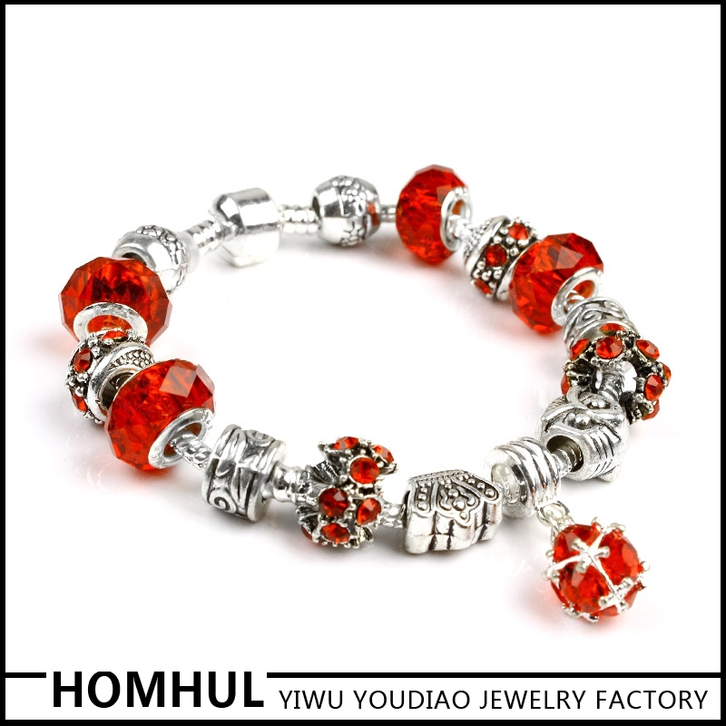 New Fashion product 2015 pretty design red crystal 925 silver gemstone lucky you bracelet
