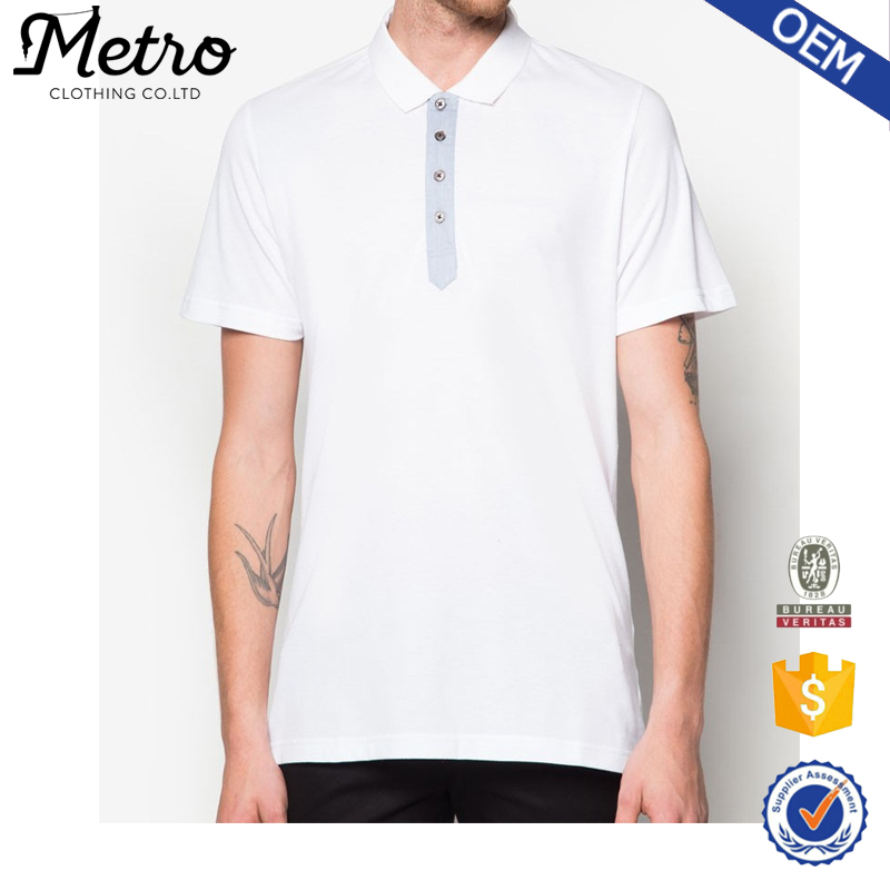 2016 Blank Wholesale Short Sleeve Button Up Polo Shirts for Men