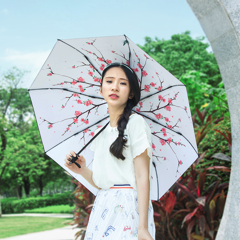 Fantastic umbrella 2018 New invention Sakura models Sun protection Vinyl 3 folding umbrella