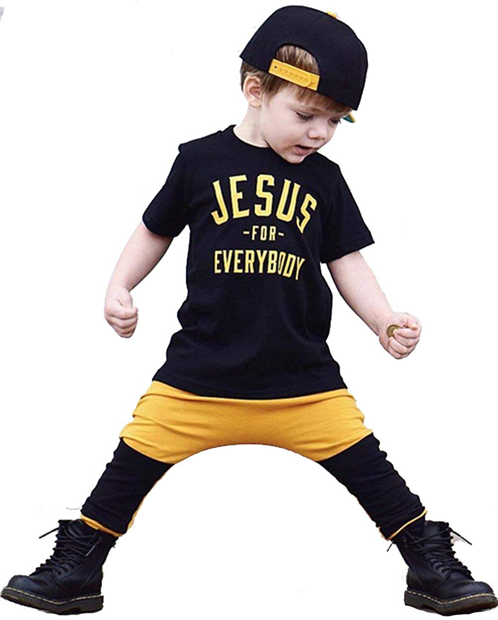 UNIQUEONE Baby Boys Jesus For Everybooy Letters Print T-Shirt Tops Patchwork Pant Sets