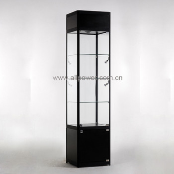 Black Aluminium Display Cabinet Lighted Glass Showcase, Stand Lockable  Window Display Jewelry