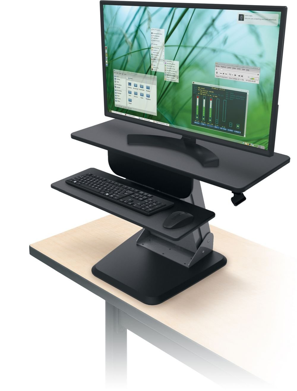 "Black Adjustable Height Desktop Station Dimensions: 35.5""W x 23""D x 36.7""H Weight: 60 Lbs Wide Enough for Large & Dual Monitors Up to 44 Lbs"