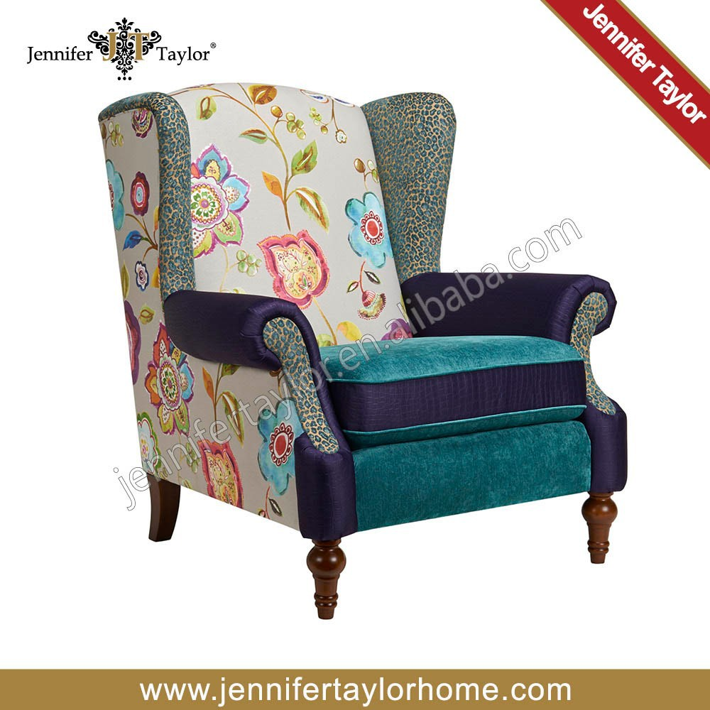 En bois fran ais patchwork style fauteuil chaises de salon for Salon patchwork