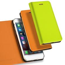 Ultra thin leather case PU wallet cover ocean blue orange for IPhone 7