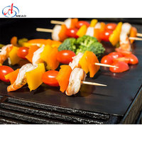 Barbecue Grill Mats Grilling Mat Set of 4 Reusable Heat Resistant Heavy Duty Non-stick Barbecue Sheets for Baking on Gas, Charco