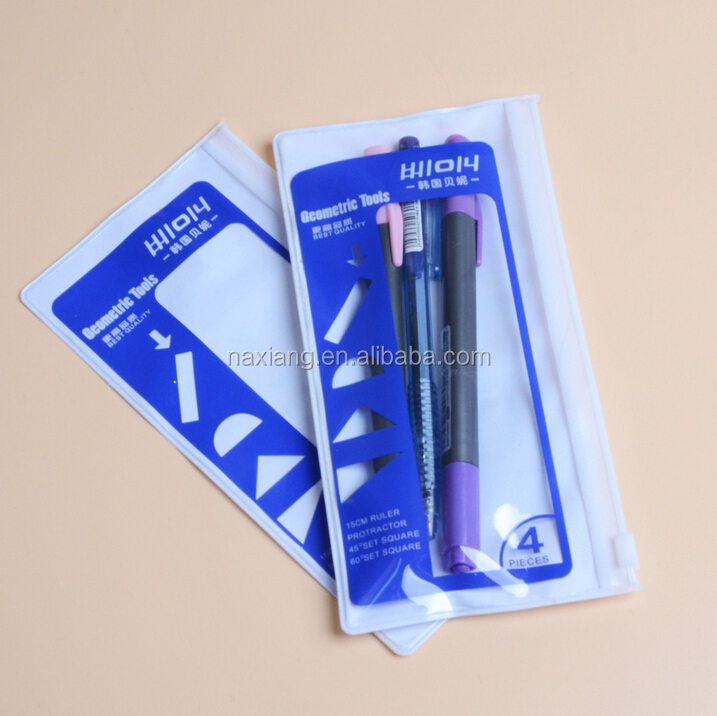 Alibaba China Cheapest clear ball point pen bag with pvc zip and logo printing