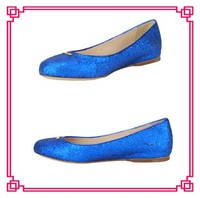 Royal blue glitter flats italian style dress women shoes italian shoes with matching bags italian shoes for women wholesale