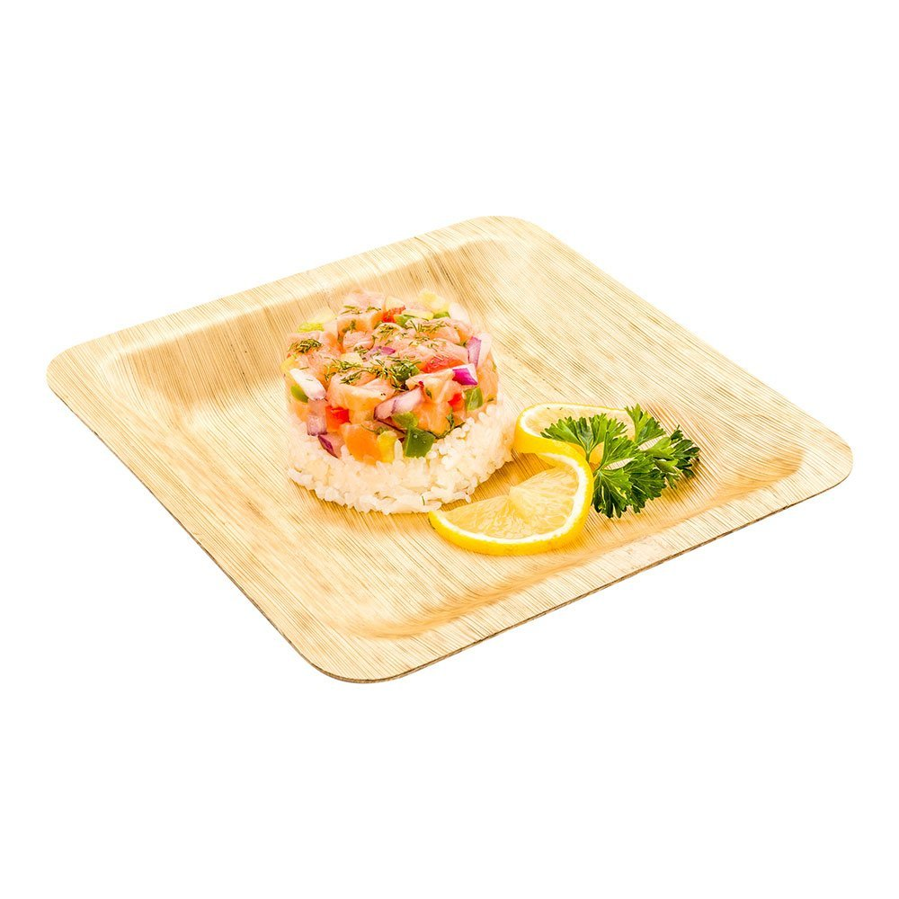 """Square Bamboo Leaf Plate - 8"""" Bamboo Plate - Heavy Duty - Disposable - 50ct Box - Restaurantware"""