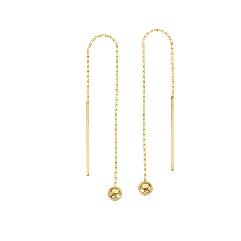 Get Quotations 14k Yellow Gold 4mm Ball Threader Earrings