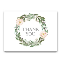 Floral Elegant100 kraft thank you cards with custom box