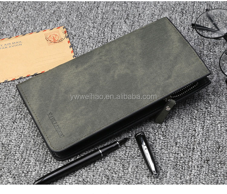 Fashion Big Capacity Men Long Leather Zipper Wallet