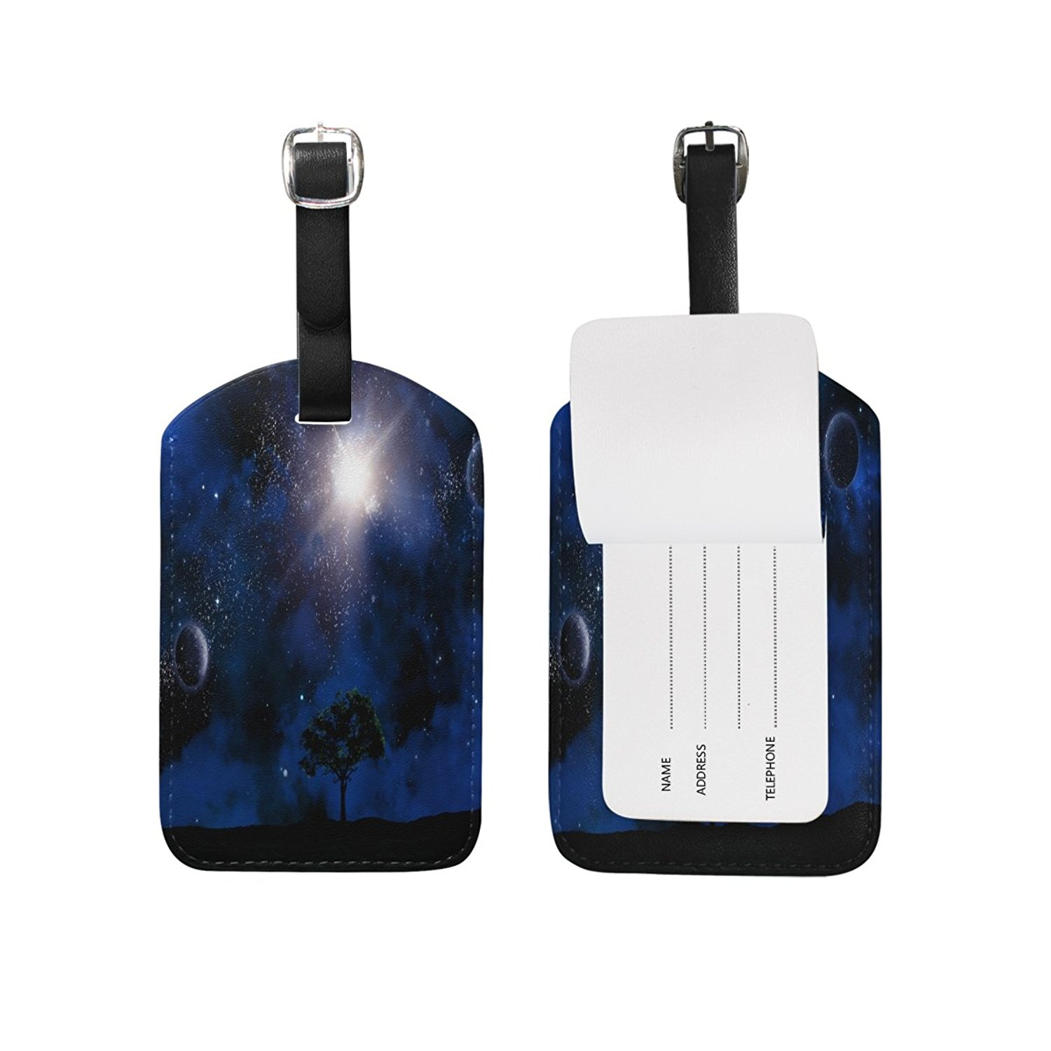 Saobao Travel Luggage Tag Spaceship In The Universe PU Leather Baggage Suitcase Travel ID Bag Tag 1Pcs