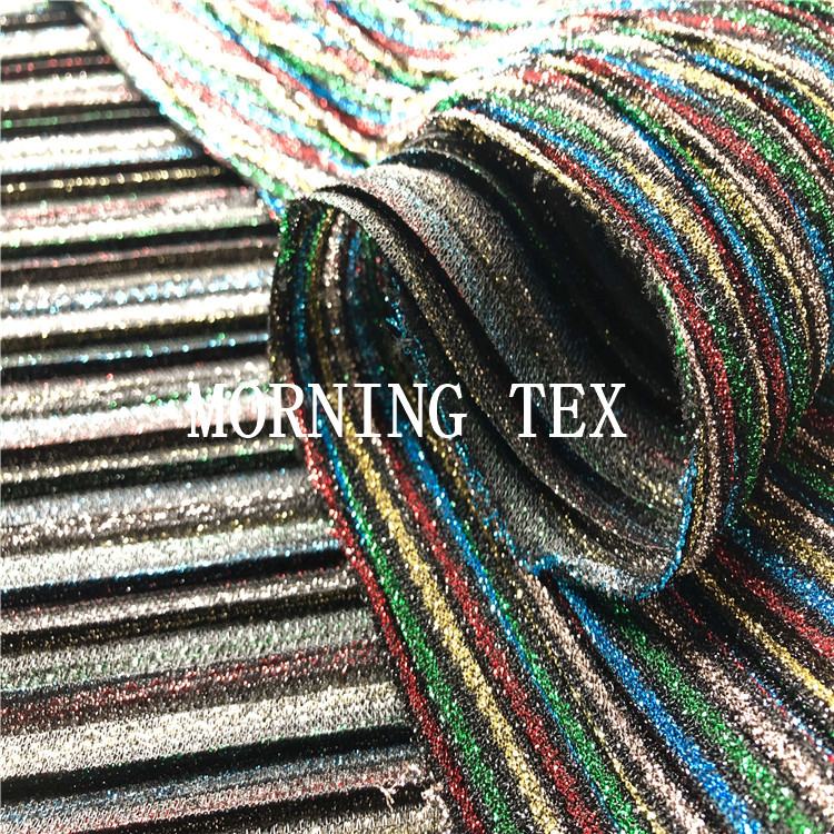 Muti Colors Shining Metallic Rainbow Stripe Colors Jijimi Pleated Lurex Fabric