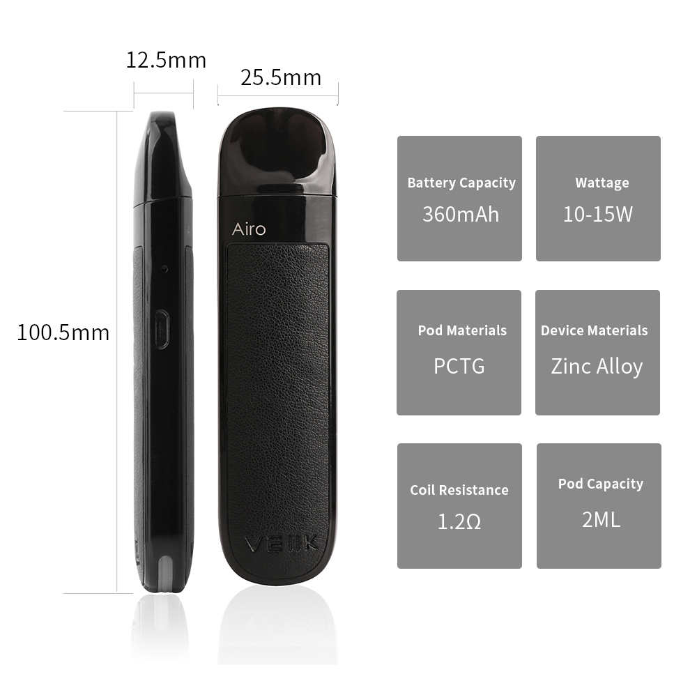 Veiik AIRO TPD compliant refillable pod system 2ml vape pod 1.2ohm refillable pod vape