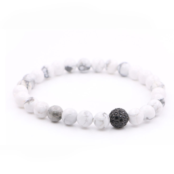 Natural White Freshwater Pearl Green CZ Pave Spacer Stretch Réglable Bracelet