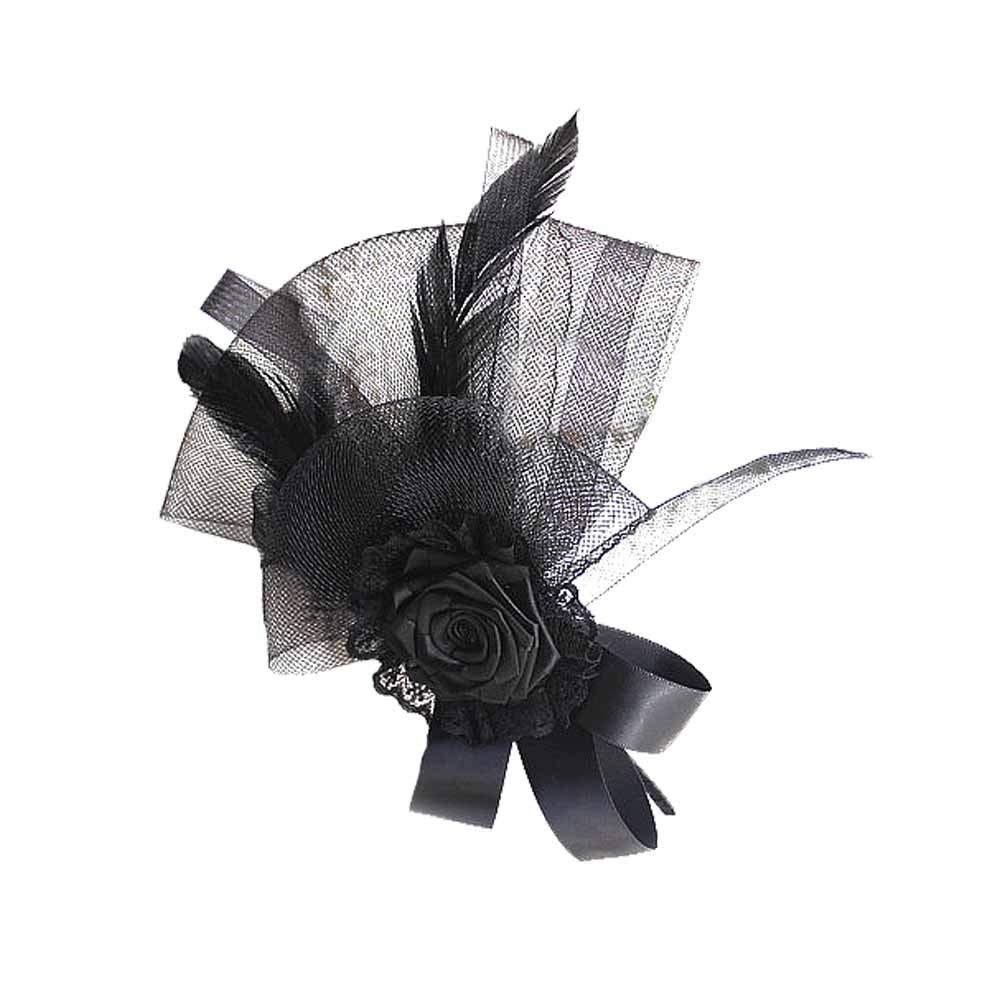 Get Quotations · CHUANGLI Handmade Womens Fascinators Black Feather  Headdress af76dd79dd8