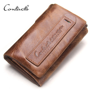 CONTACT'S 2018 Hot Sale Crazy Horse Leather Wallet with Key Chain
