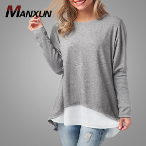Grey Long Sleeve Button Back Patchwork Tshirt Wholesale Women T Shirt Loose Tunic T shirt Blouse Tops