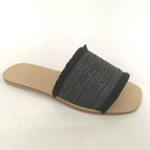 HP001-23 2018 small moq new cheap fashion weave raffia fabric upper fray tpr sole white sandals