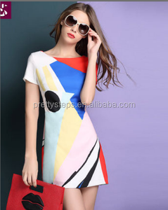 2018 Popular Geometric Shapes Printed Design One Piece Dress Mix Color Modern Short Sleeve Mini Fashion Dress Plus Size