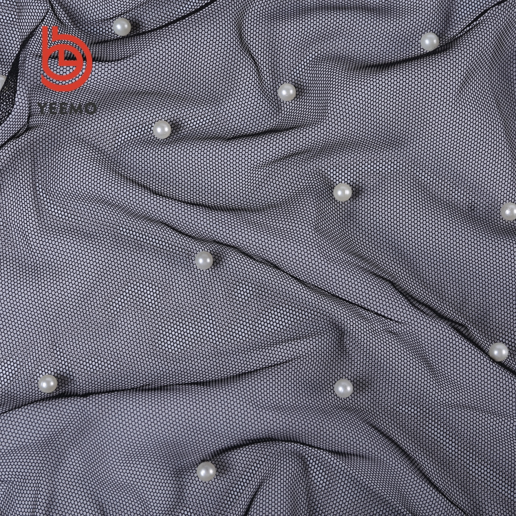 Grosir Kualitas Tinggi Tahan Air Mata Mosquito Net Beaded Bridal Lace Fabric dengan Putih Beads