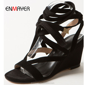 Genuine sheep leather lace up girls wedges sandals wholesale sexy black ladies beach sandals Roman stylish sandals for woman