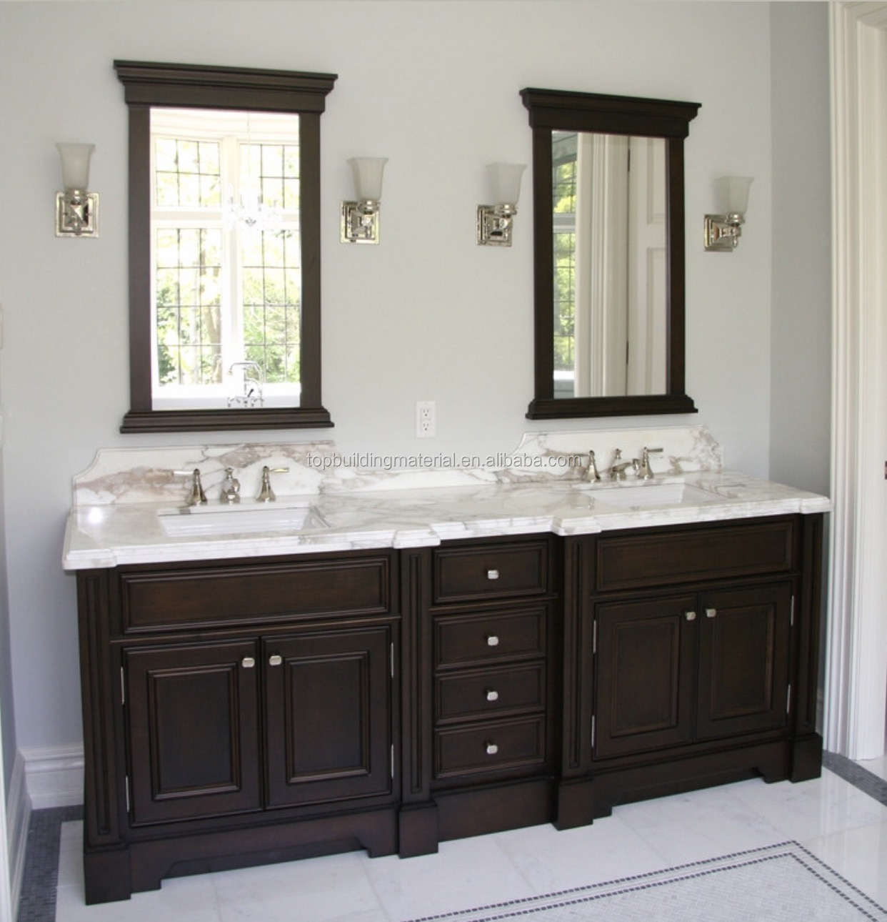 Free delivery High end black double shaker vanity with mirror