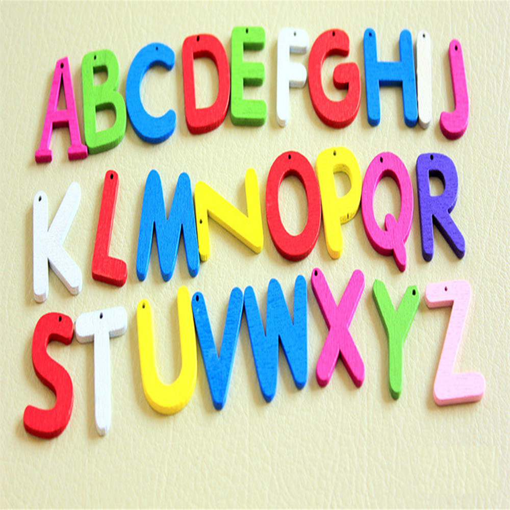 Mixed multicoloured wood alphabets 'A-Z' for child literacy