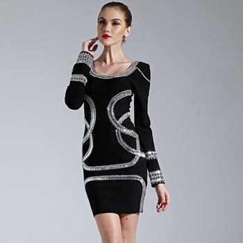 de blanco perlas vestido Ley manga Precio vendaje fábrica negro Shinning espalda larga lápiz tachonadas de SdnnqW1