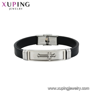 75723 xuping Fashion leather Wholesale Jewelry Engraved Stainless Steel Bangle Smart women Bracelet