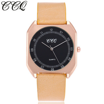 Simple Flat Genuine Leather Square Face Quartz Watches For Women And