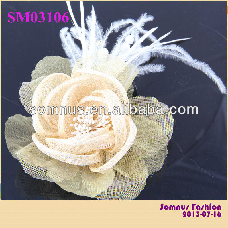 Somnus Fashion Feather Flower Artificial Decorative Sinamay Flowers