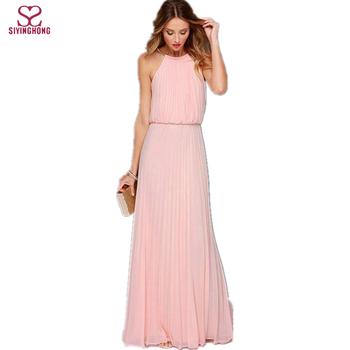 5c6f89b525f2e24 Летние женские сексуальные длинные платья для вечерние 2016 без рукавов  Элегантные повседневные плиссированные шифоновые платье макси