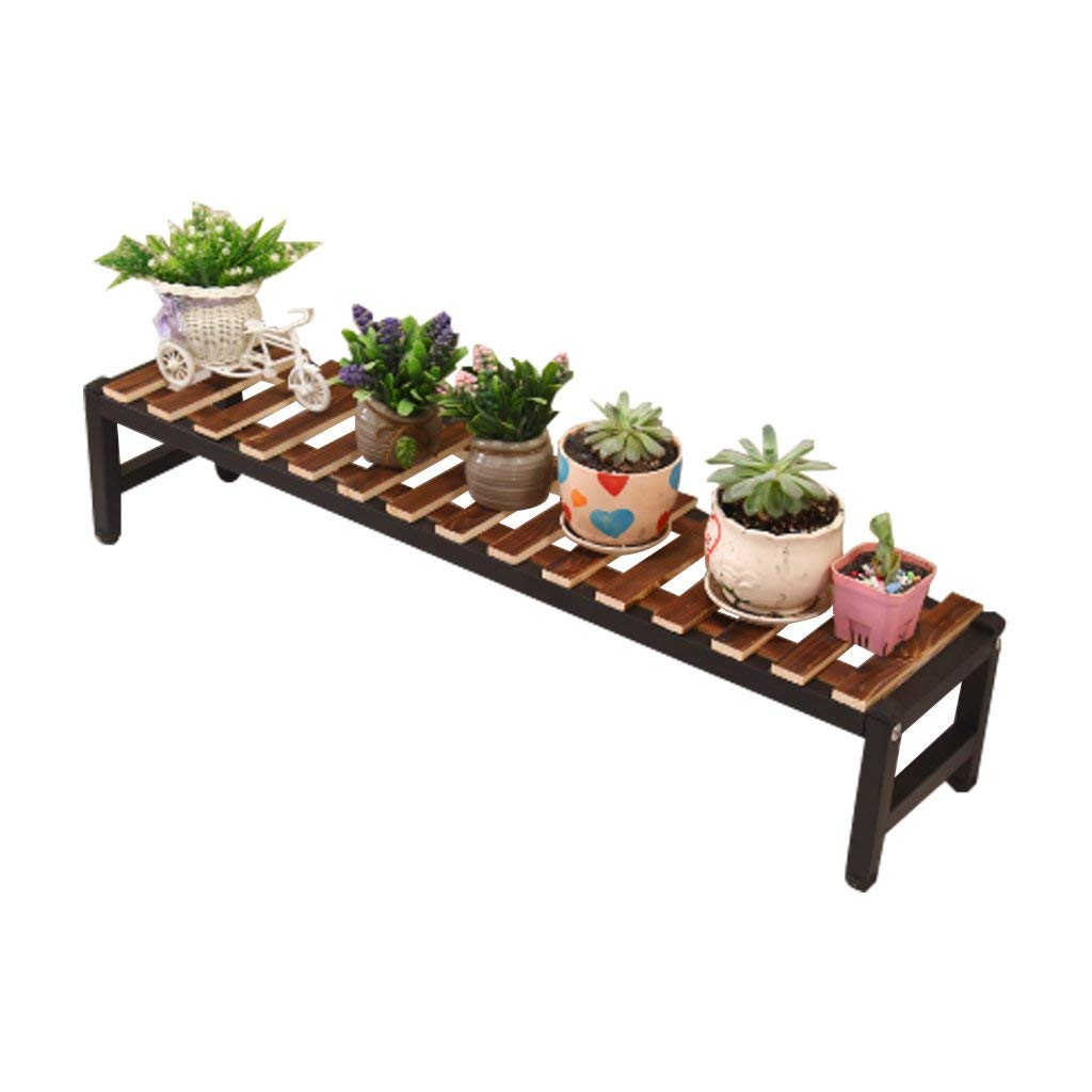CSQ Wrought Iron Wood Flower Stand Plant Stand Shelf, Green Plant Living Room Bedroom Balcony, Carbon Baking Process (Size : 8017cm)