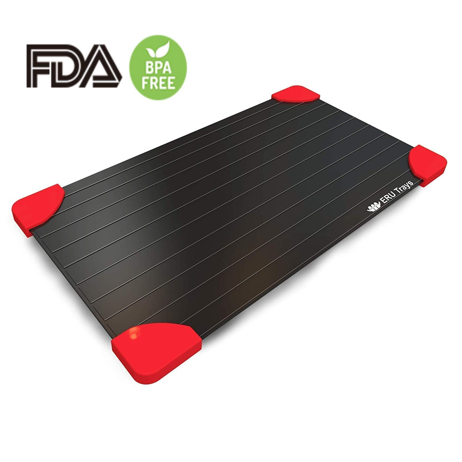 ERU Rapid Thaw Defrosting Tray - LARGEST SIZE 3 mm Thickness Magic Fast Thawing Plate For Frozen Foods - No Battery, No Microwave, FDA Approved