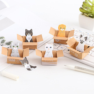 2018 Popular Modern Design Cat Sticky Notes Cute Animal Sticky Notes Wholesale Mini Memo Pad Box