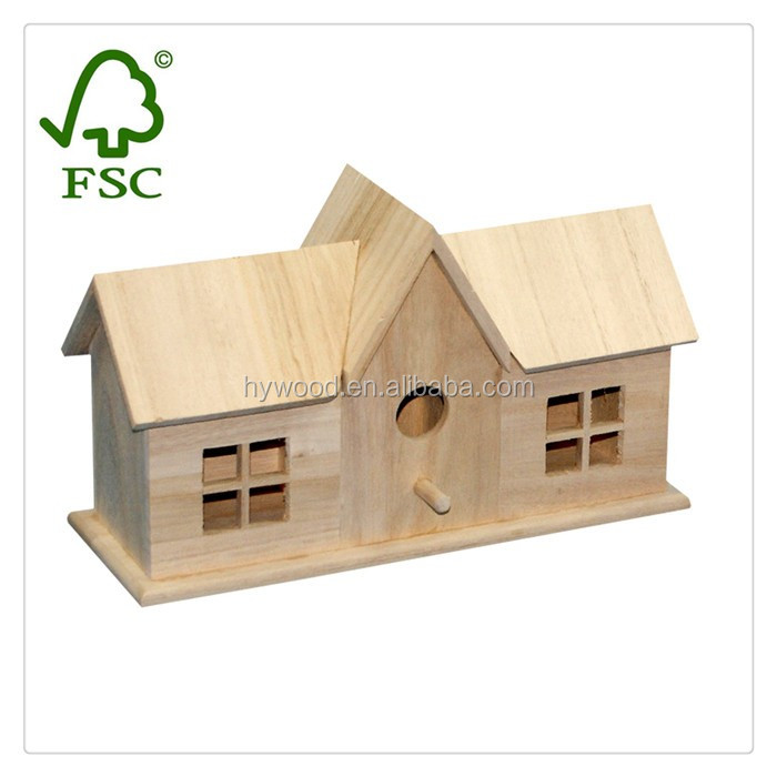 China Manufacture Factory Supply antique natural new unfinished wooden bird house wholesale for sale