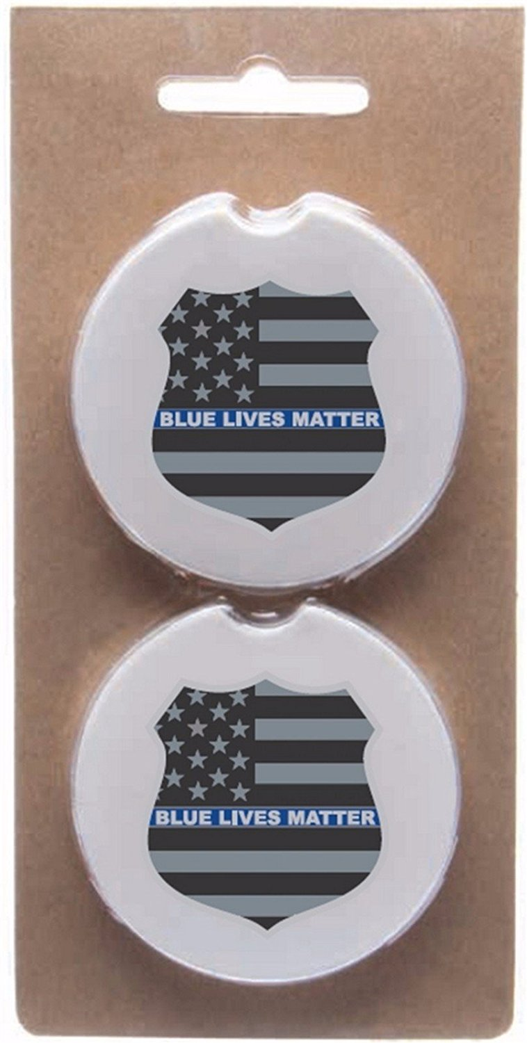 Blue Lives Matter Thin Blue Shield Absorbent Stone Car Coasters - 2 Pack Set