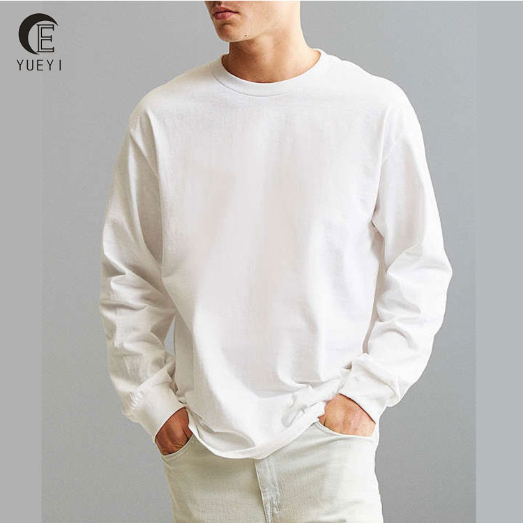 mens 100 cotton long sleeve plain white t shirt
