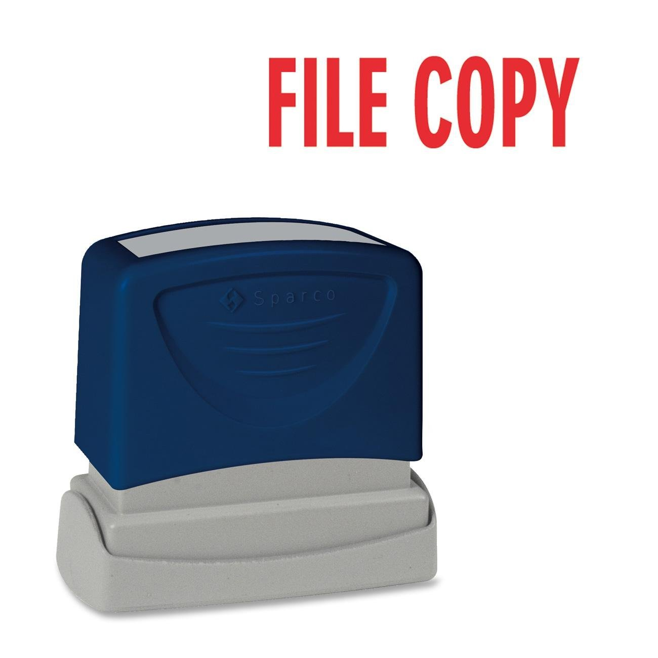 """Sparco Products Products - FILE COPY Title Stamp, 1-3/4""""x5/8"""", Red Ink - Sold as 1 EA - Title stamper offers a specially designed system that evenly disperses instant-drying ink. Protective end piece ensures clean impressions. Stamps """"FILE COPY."""" Impression size is 1-3/4"""" x 5/8""""."""