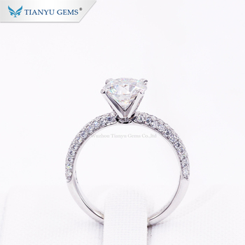 Tianyu customized 14k/18k white gold ring 1.5ct round heart&arrow colorless forever one moissanite  engagement wedding lady ring