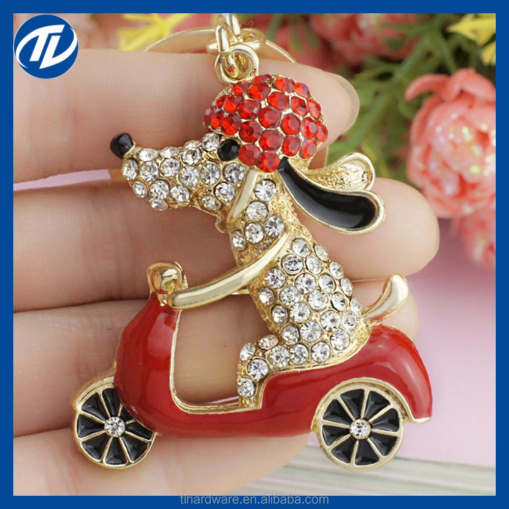 2016 Lovely Dog Motorcycle Biker Crystal Rhinestone Metal Bag Pendant Keyring Keychain For Car K183