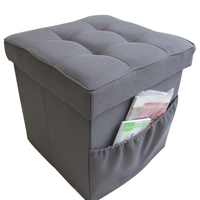 Multi functional polyester linen folding box square sofa shoes storage stool