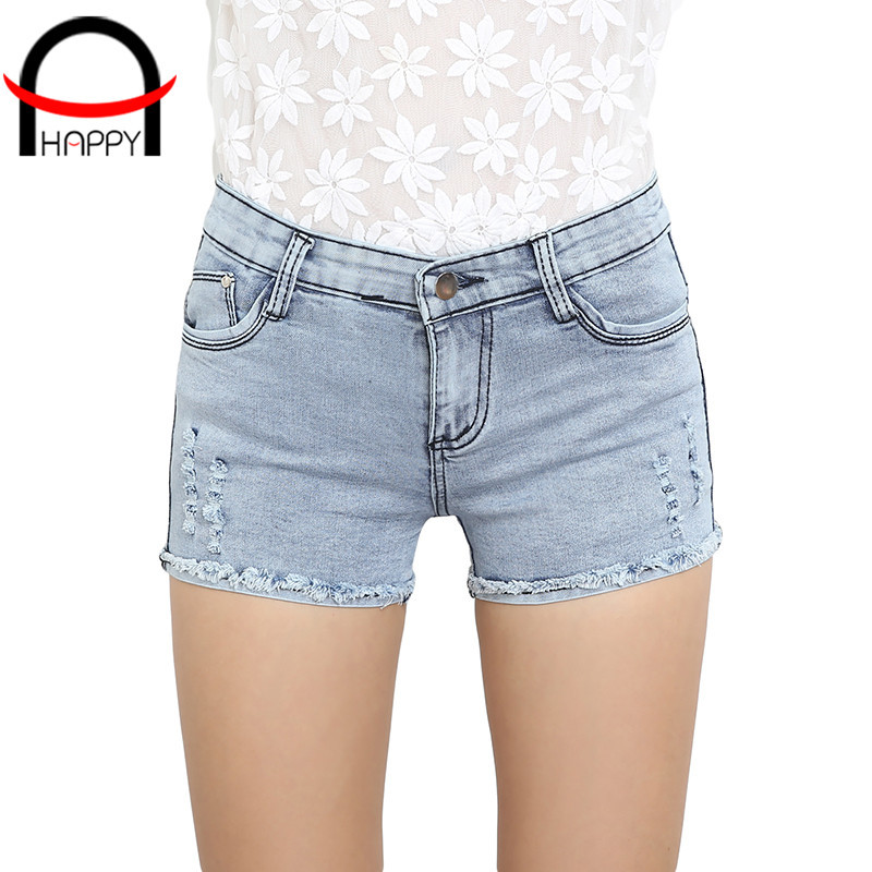 2015 summer style short jeans feminino skinny frayed hole solid color bermudas feminino raw edges vintage shorts size S-L WP026