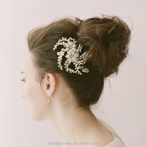 wedding hair comb bridal headpiece charm Pearl Flower Crystal hair pins accessories head piece hair jewelry for women